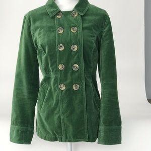 Boden Green Velvet Pea Coat Jacket 14 US